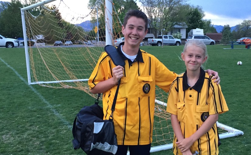 Jacob and Megan have worked hard as soccer referees this spring