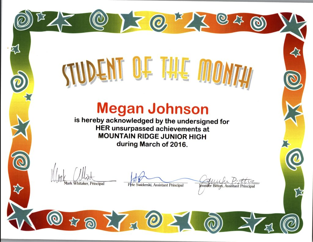 Megan - Student of the Month